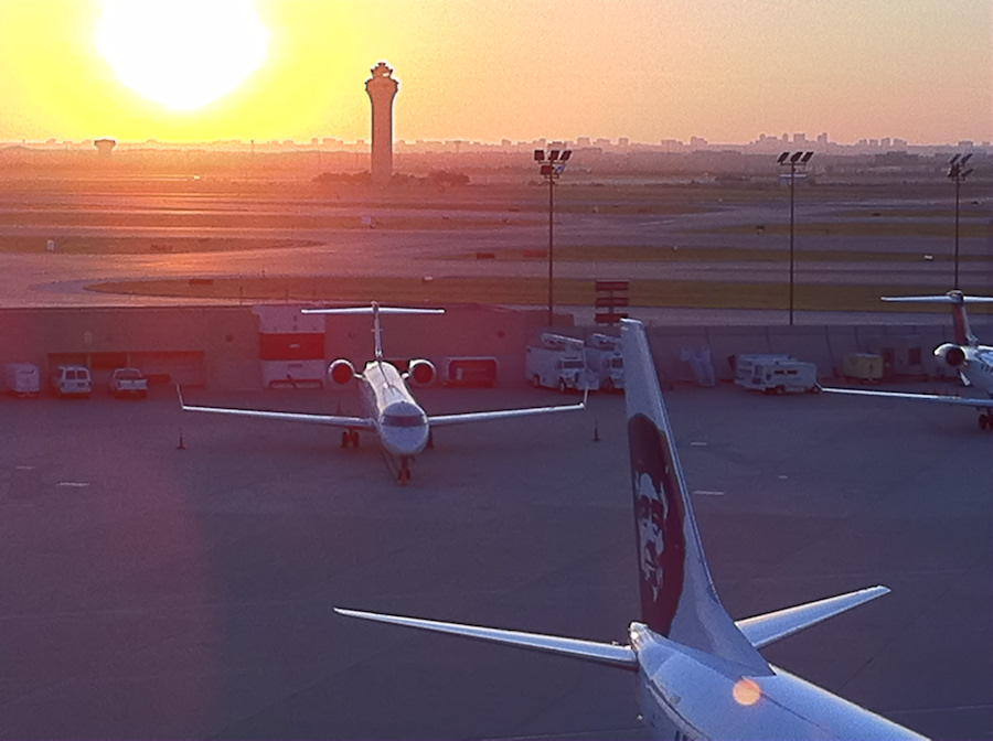 commercial airplanes at dawn