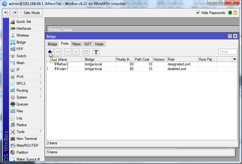 "Step 3: Open the Bridge dialog and choose the ""Ports"" tab. Click Add"