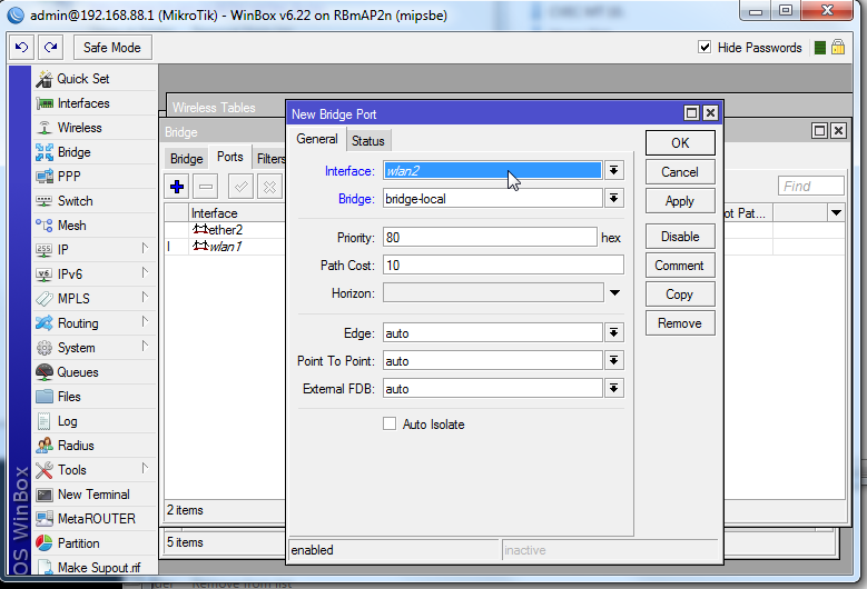 "Step 4: Choose the newly created VAP interface and add it to the ""bridge-local"" bridge."