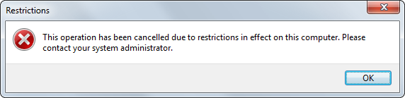 Execution blocked by Group Policy