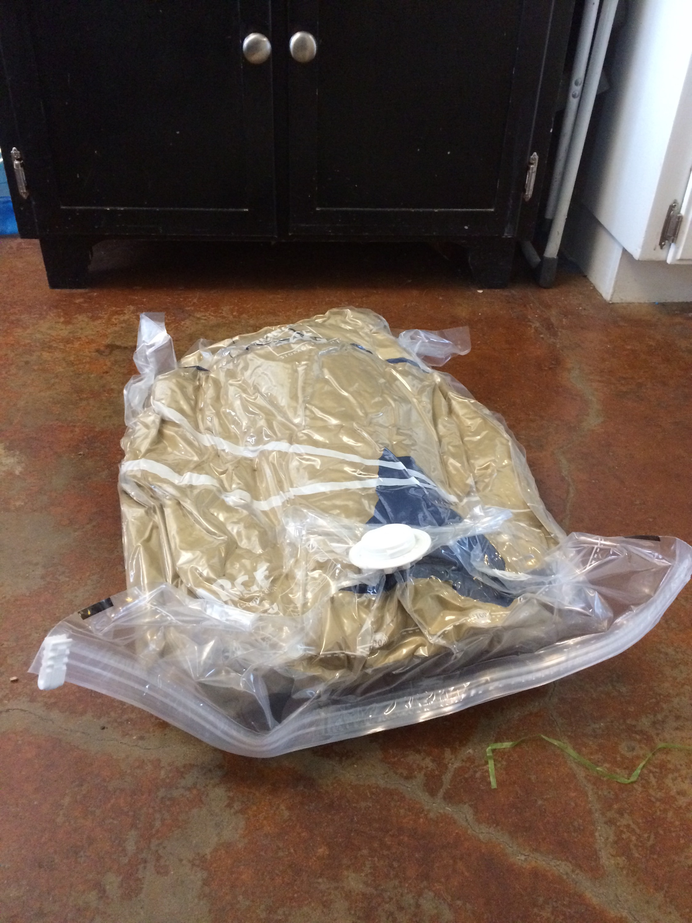 Vacuum sealed sleeping bag laying flat