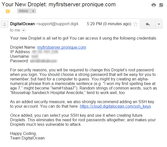 New Droplet Email Screenshot