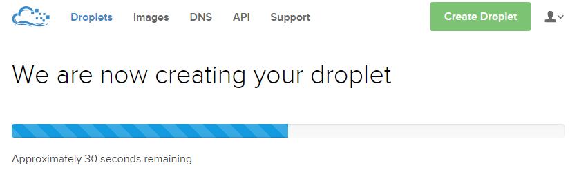DigitalOcean.com Creating droplet progress screen