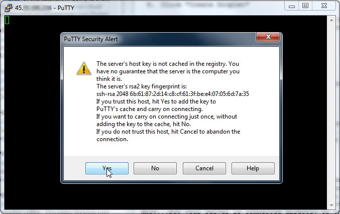 Putty SSH Fingerprint Dialog