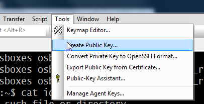 SecureCRT | Tools | Create Public Key...