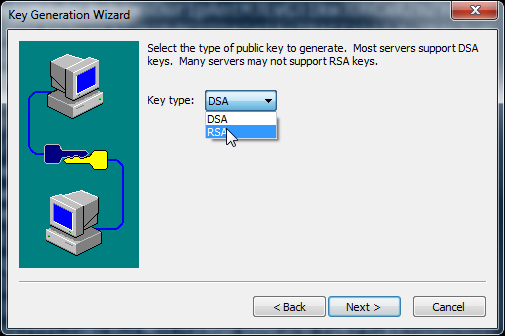 SecureCRT Choose between DSA and RSA key generation