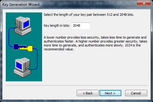 SecureCRT Use a key length of 2048