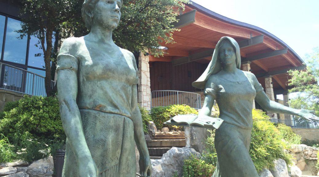 sculpture of two women