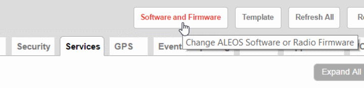 GX450 Firmware Update Button - ACEmanager screenshot