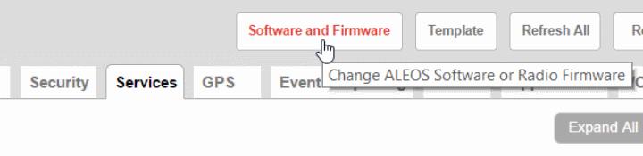 GX450 Firmware Update Button - ACEmanager screenshot