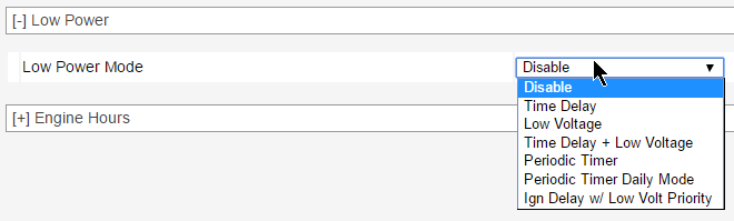 GX450 Low Power Mode Settings - ACEmanager Screenshot