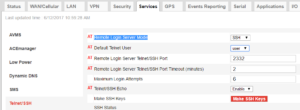 GX450 Telnet/SSH Settings Screenshot ACEmanager