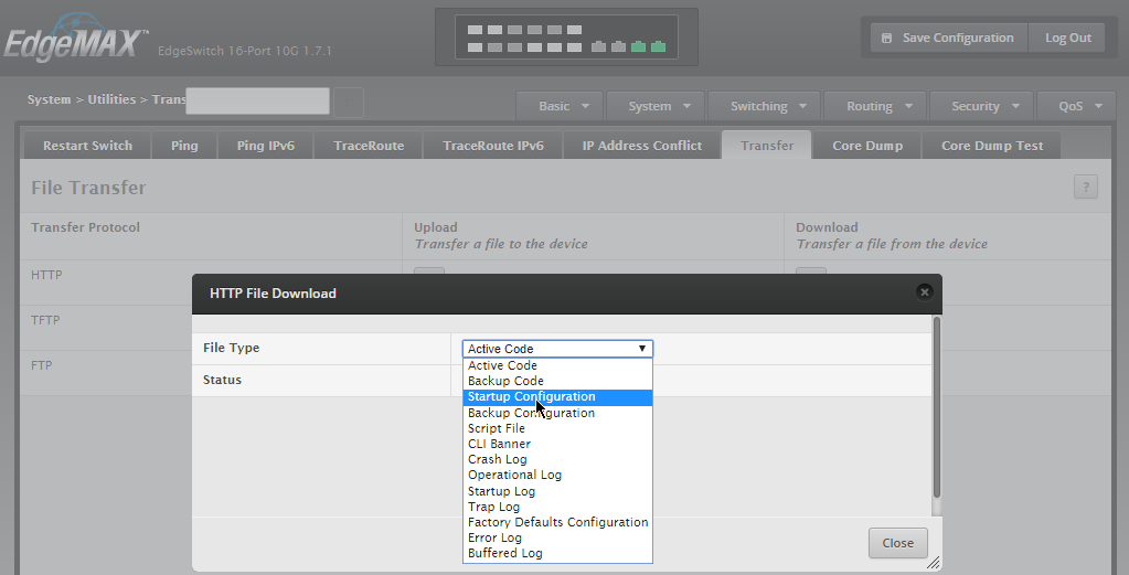 How to backup config from EdgeSwitch Web GUI - jcutrer com