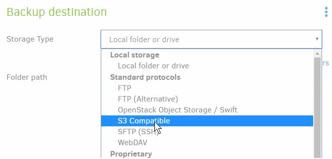Duplicati-backup-storage-type