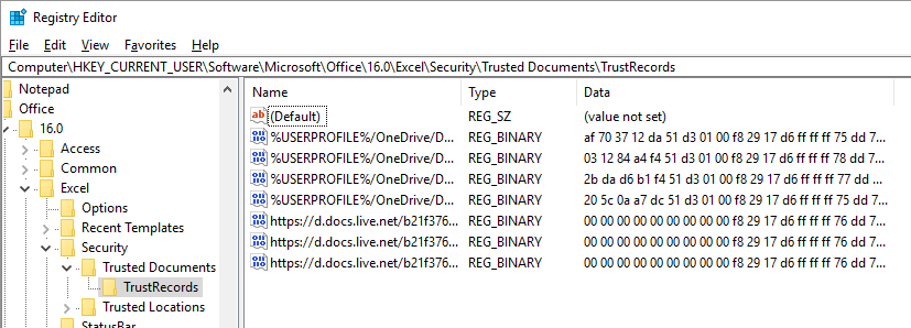 Registry Excel TrustedRecords