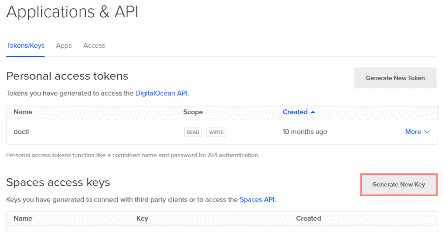 digitalocean-spaces-generate-new-key