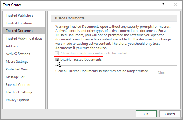 how to clear recent documents in excel 2016