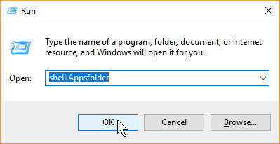 Run Shell:Appsfolder