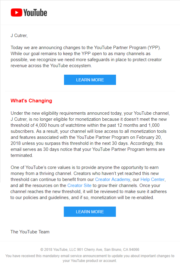 YouTube Demonetization Letter