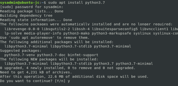 apt install python3.7