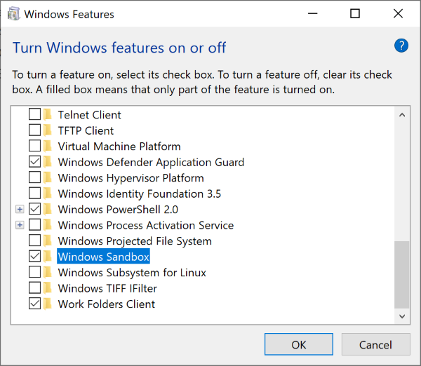 enable windows sandbox