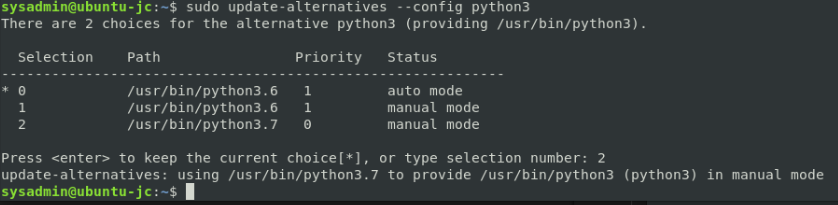 update-alternatives python3