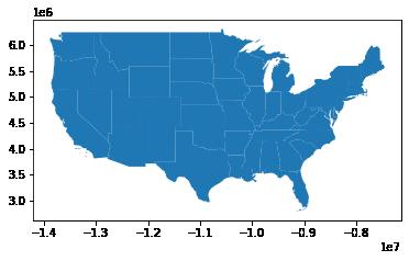 GeoPandas plot of the United States