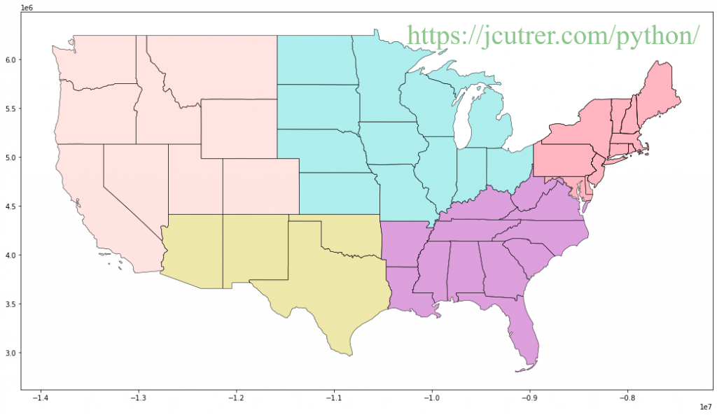 United States map plotted with GeoPandas