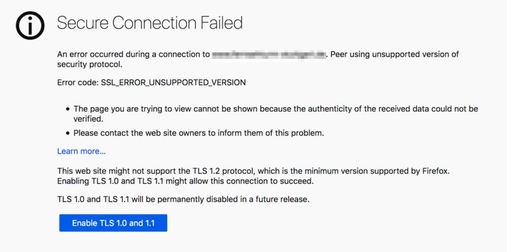 Firefox TLS 1.x Error Page